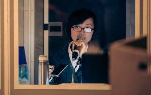 Our interpreter May CHEN working in the Booth for Sunan Cup Startup Competition this year in Town Hall